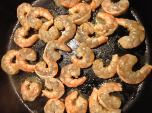 Sautéing the shrimp (just added lime and cumin)