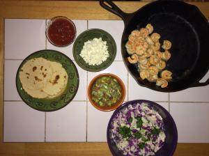 The full spread (Tortillas, Salsa, Cheese, Guacamole, Cole Slaw, and Shrimp)