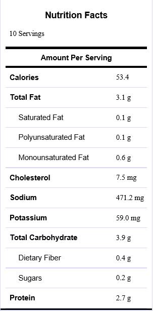 Guacamole nutrition label 1