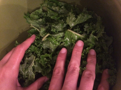 massaging the kale :)  [I was my own hand model this time!]